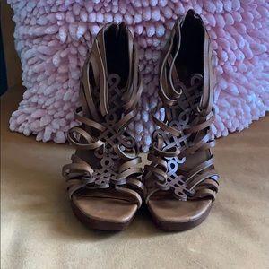 Camel Heeled Sandals